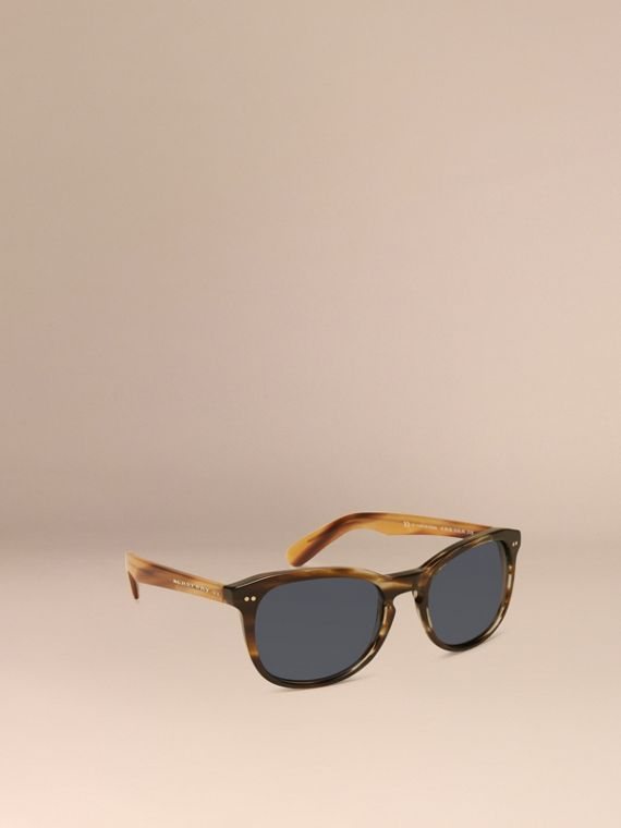 Square Frame Sunglasses Dark Brown Horn