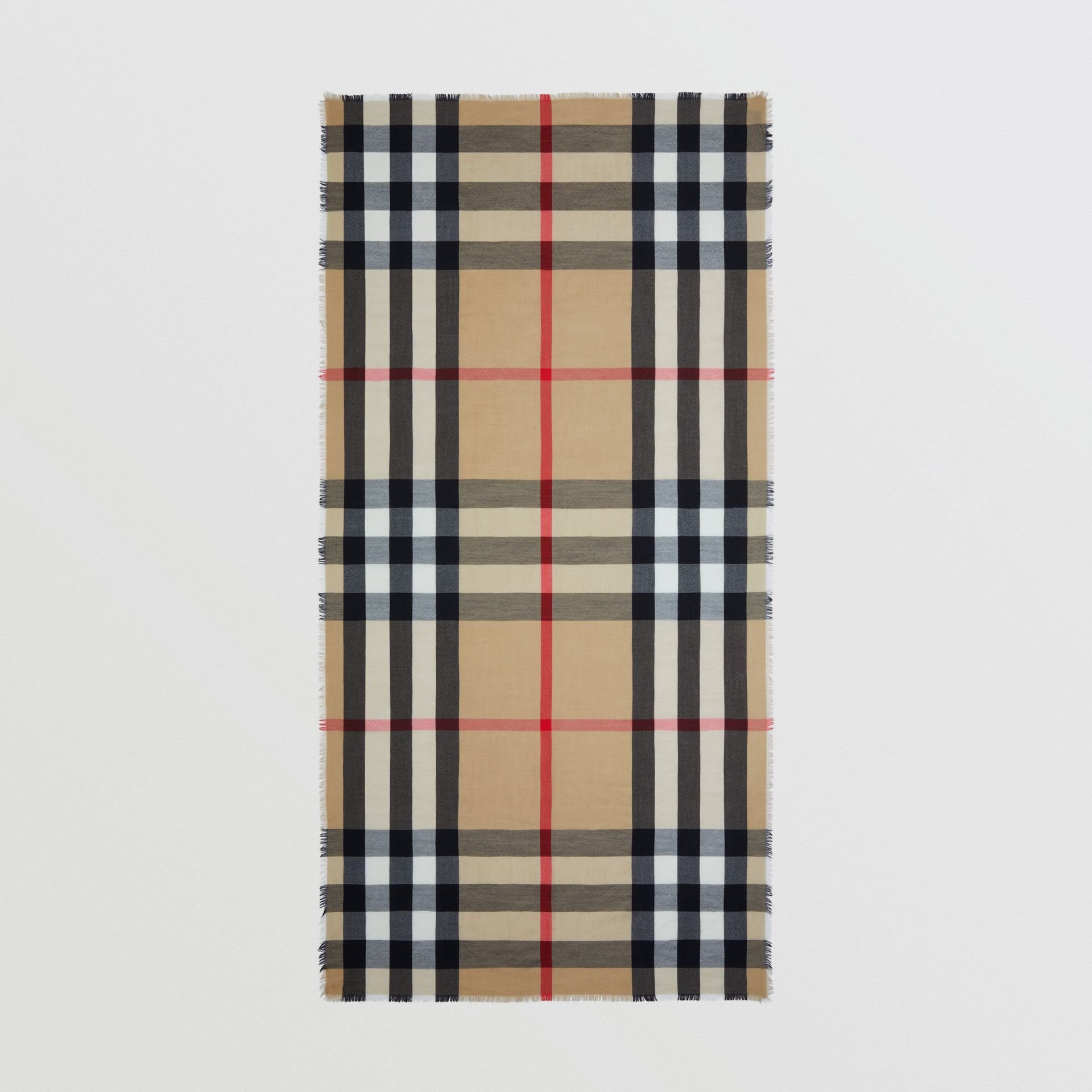 Lightweight Check Cashmere Scarf in Archive Beige | Burberry - gallery image 3