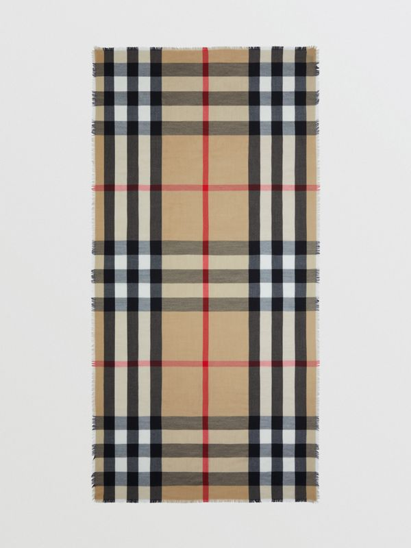 Lightweight Check Cashmere Scarf in Archive Beige | Burberry - cell image 3