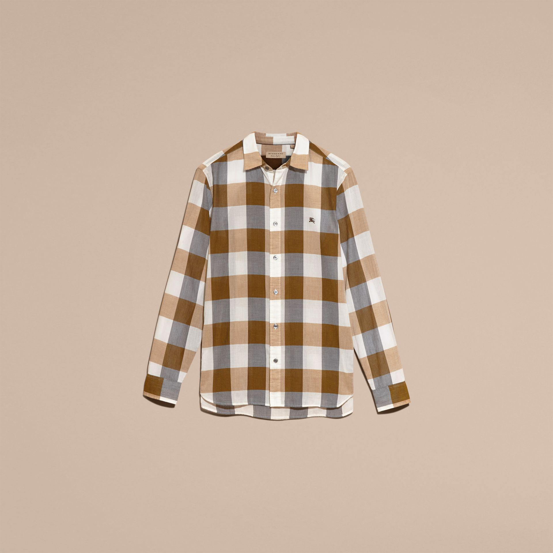 Oversize Gingham Cotton Linen Shirt Camel - gallery image 4