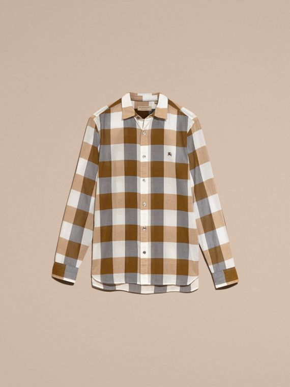Oversize Gingham Cotton Linen Shirt Camel - cell image 3