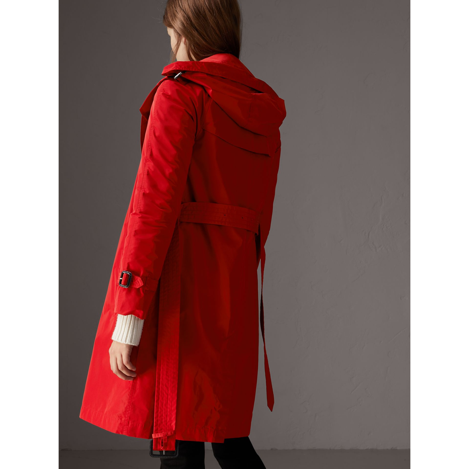 Detachable Hood Taffeta Trench Coat in Military Red - Women | Burberry United Kingdom - gallery image 2
