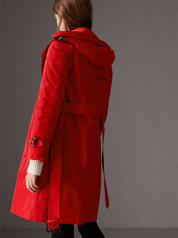 Detachable Hood Taffeta Trench Coat in Military Red - Women | Burberry - cell image 2
