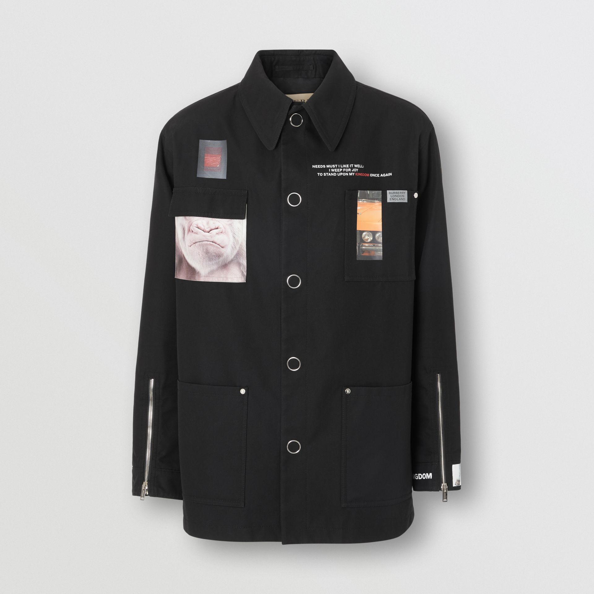 Montage Print Cotton Gabardine Workwear Jacket in Black - Men | Burberry - gallery image 3