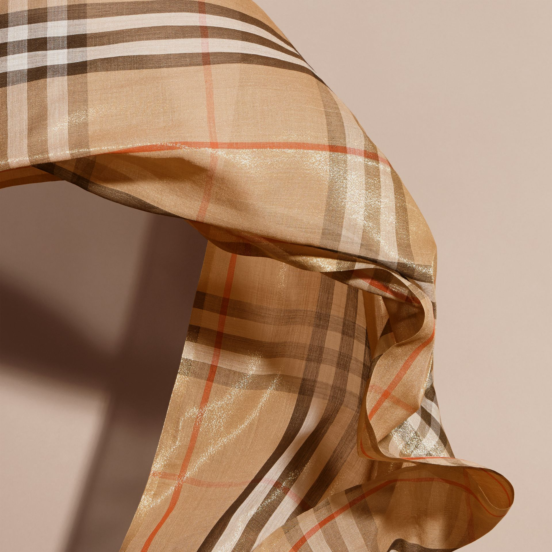 Metallic Check Silk and Wool Scarf Camel/gold - gallery image 4