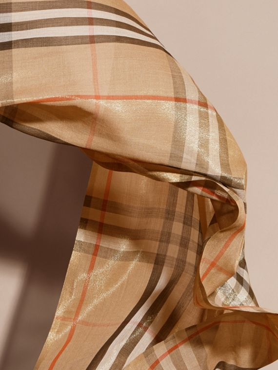 Metallic Check Silk and Wool Scarf in Camel/gold - cell image 3