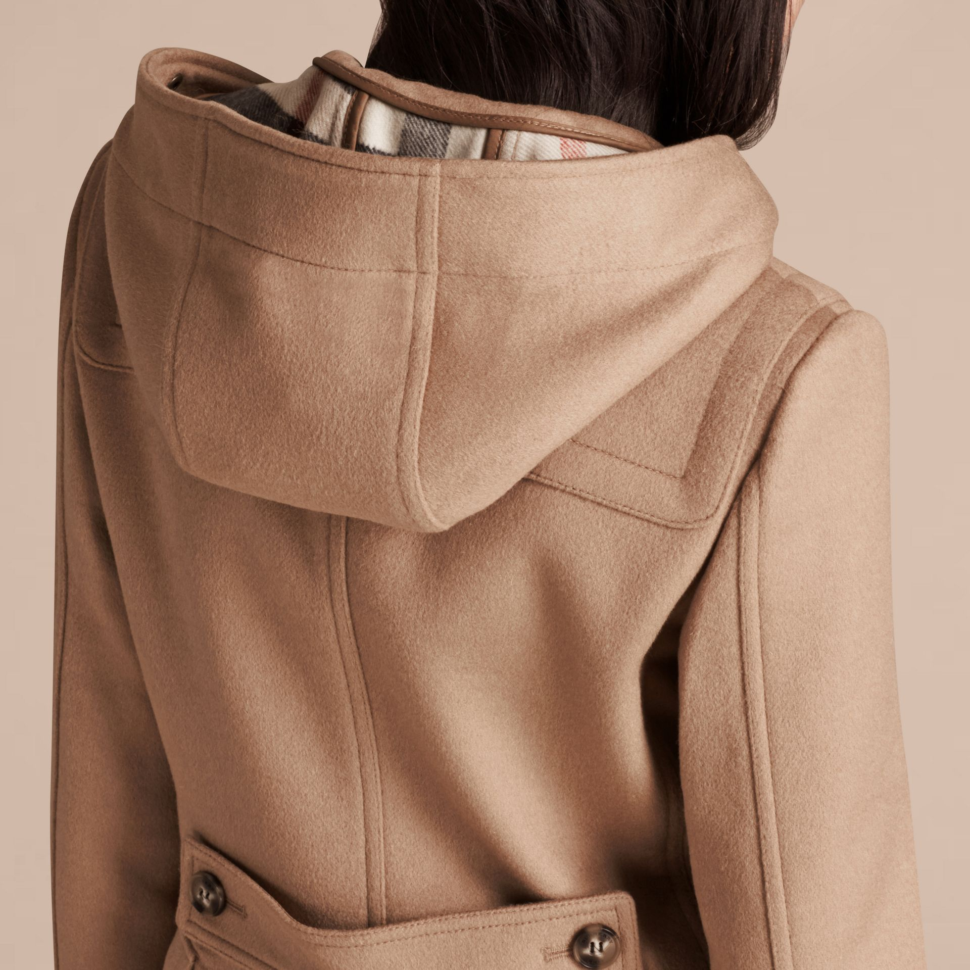 Camel Duffle-coat en laine avec bordure en fourrure amovible Camel - photo de la galerie 4