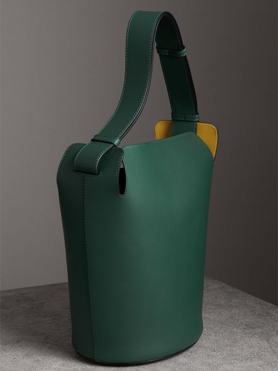 The Large Leather Bucket Bag in Viridian Green - Women | Burberry - cell image 3