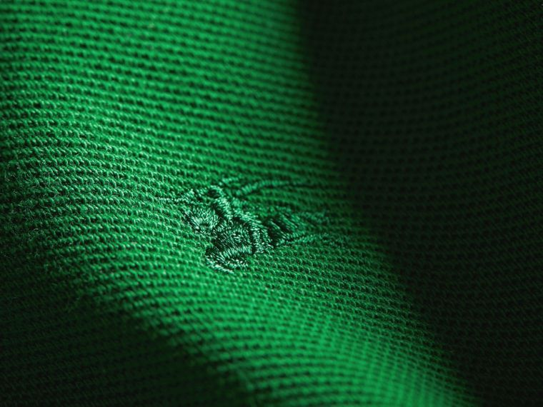 Check Placket Polo Shirt in Pigment Green - Boy | Burberry - cell image 1