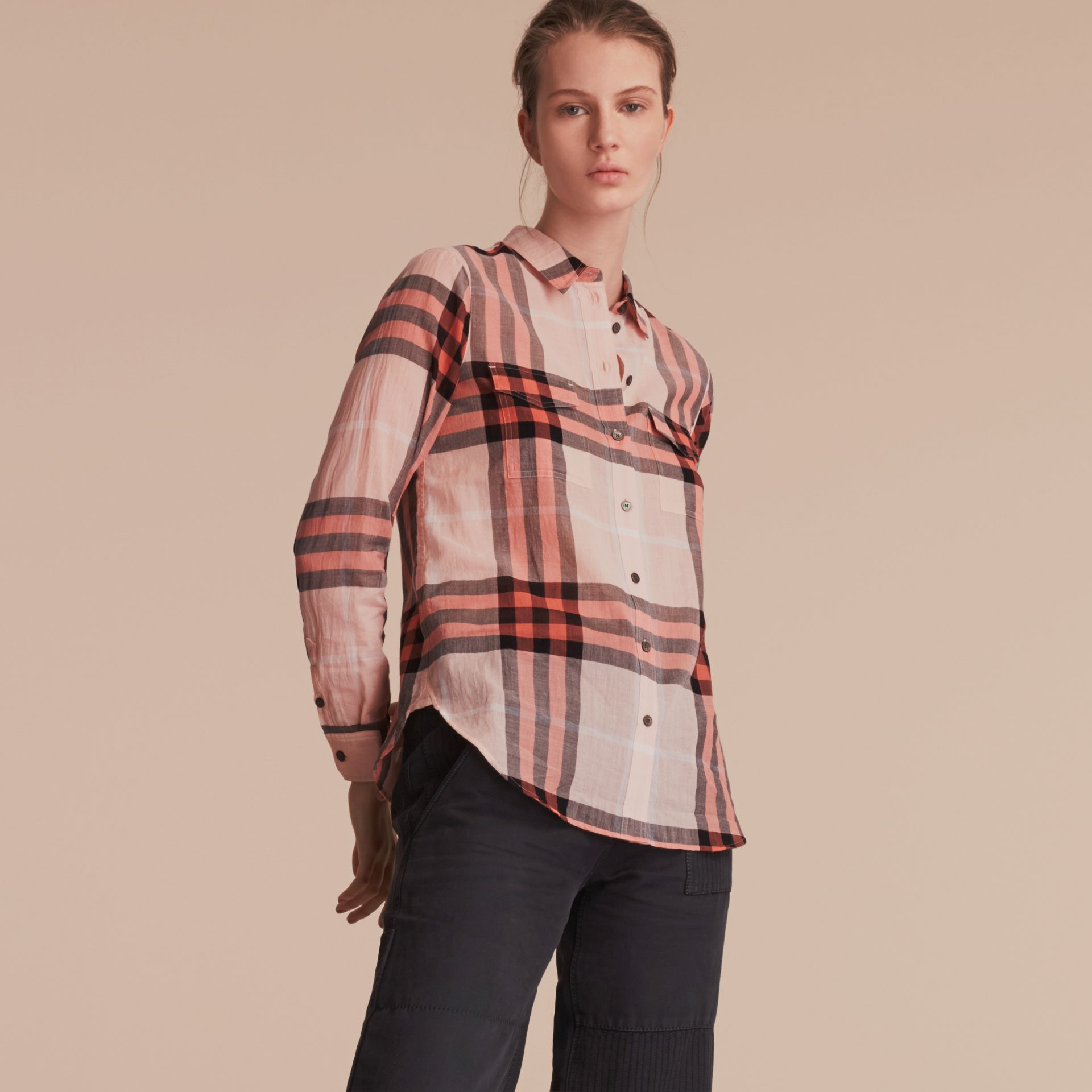 Check Cotton Shirt Apricot - gallery image 6