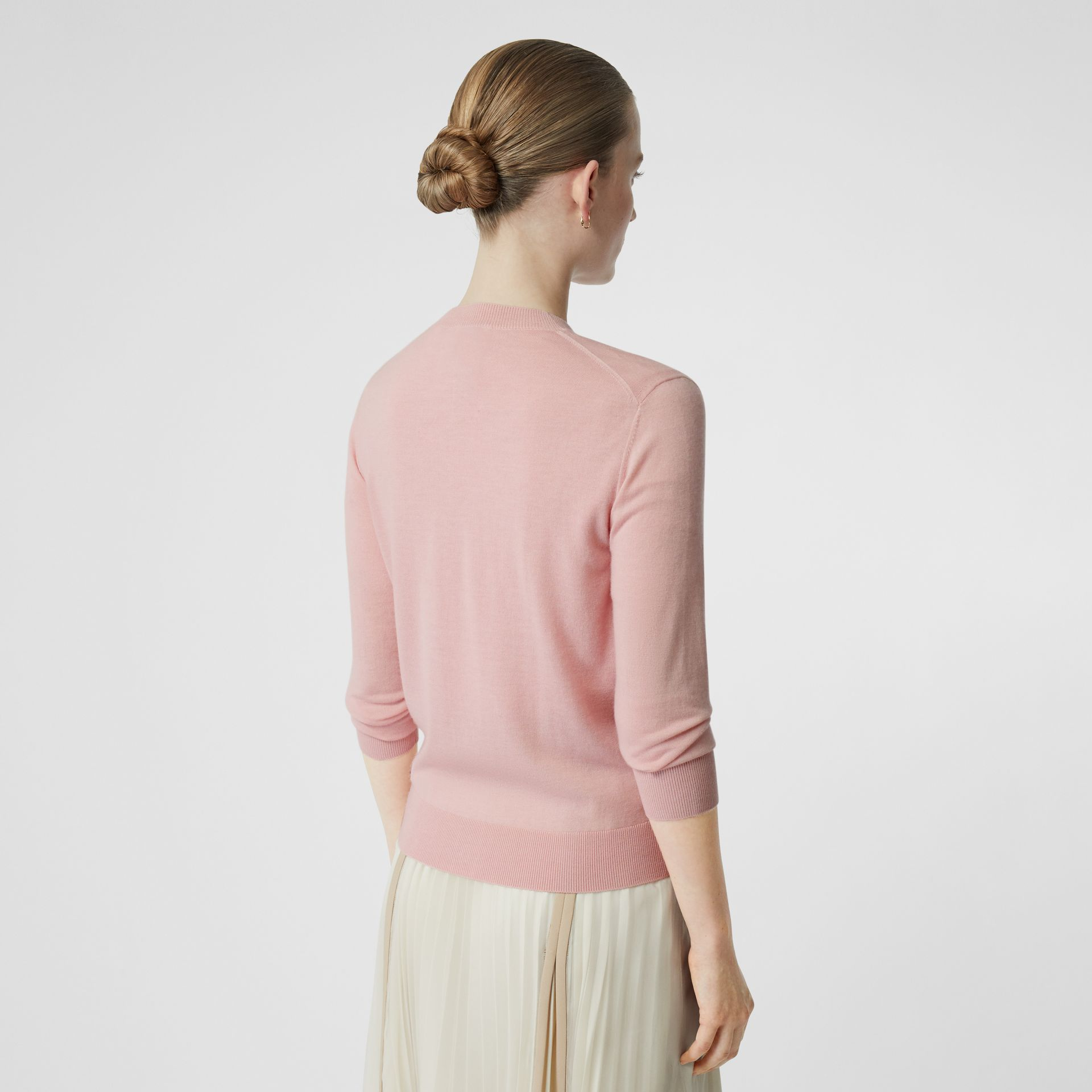Monogram Motif Cashmere Cardigan in Pink - Women | Burberry United Kingdom - gallery image 2