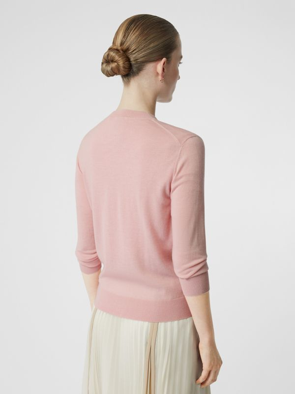 Monogram Motif Cashmere Cardigan in Pink - Women | Burberry United Kingdom - cell image 2