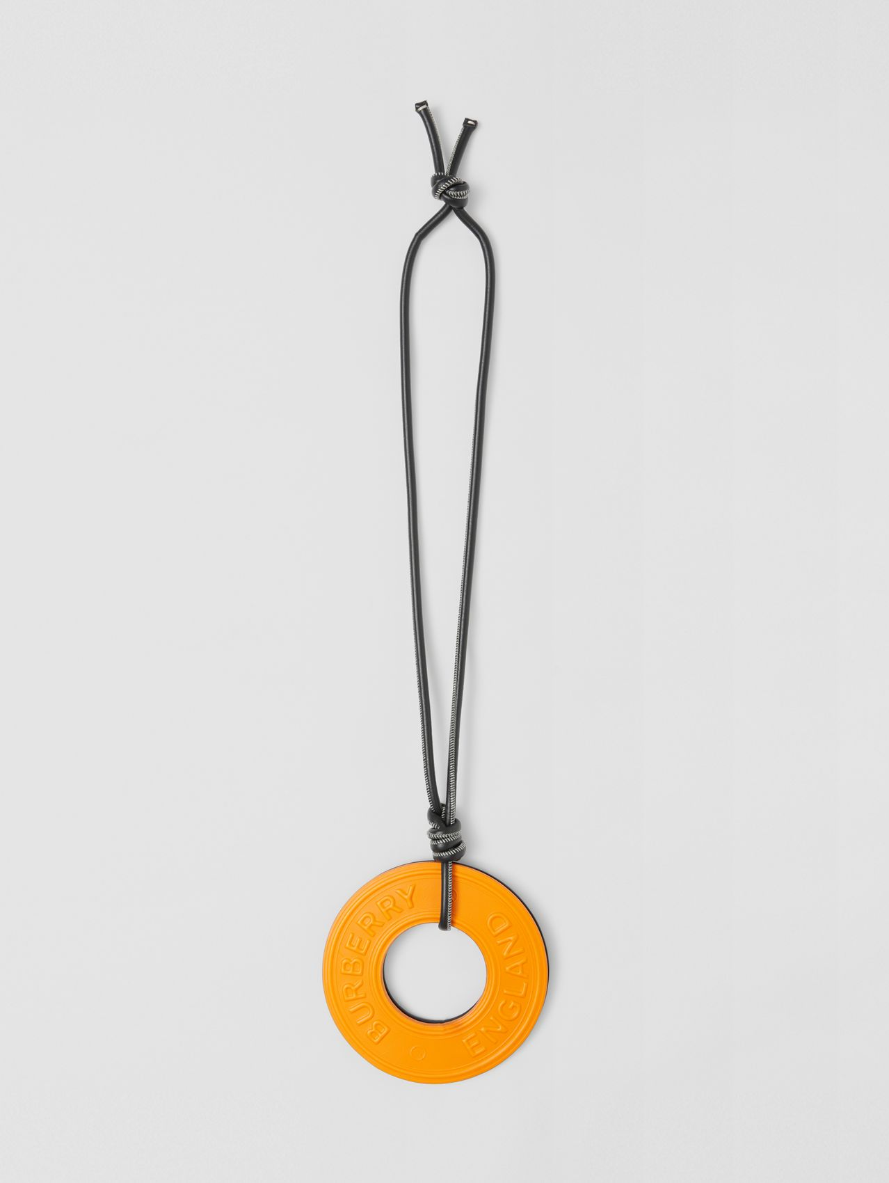 Logo Graphic Leather Charms Lanyard in Black/deep Orange