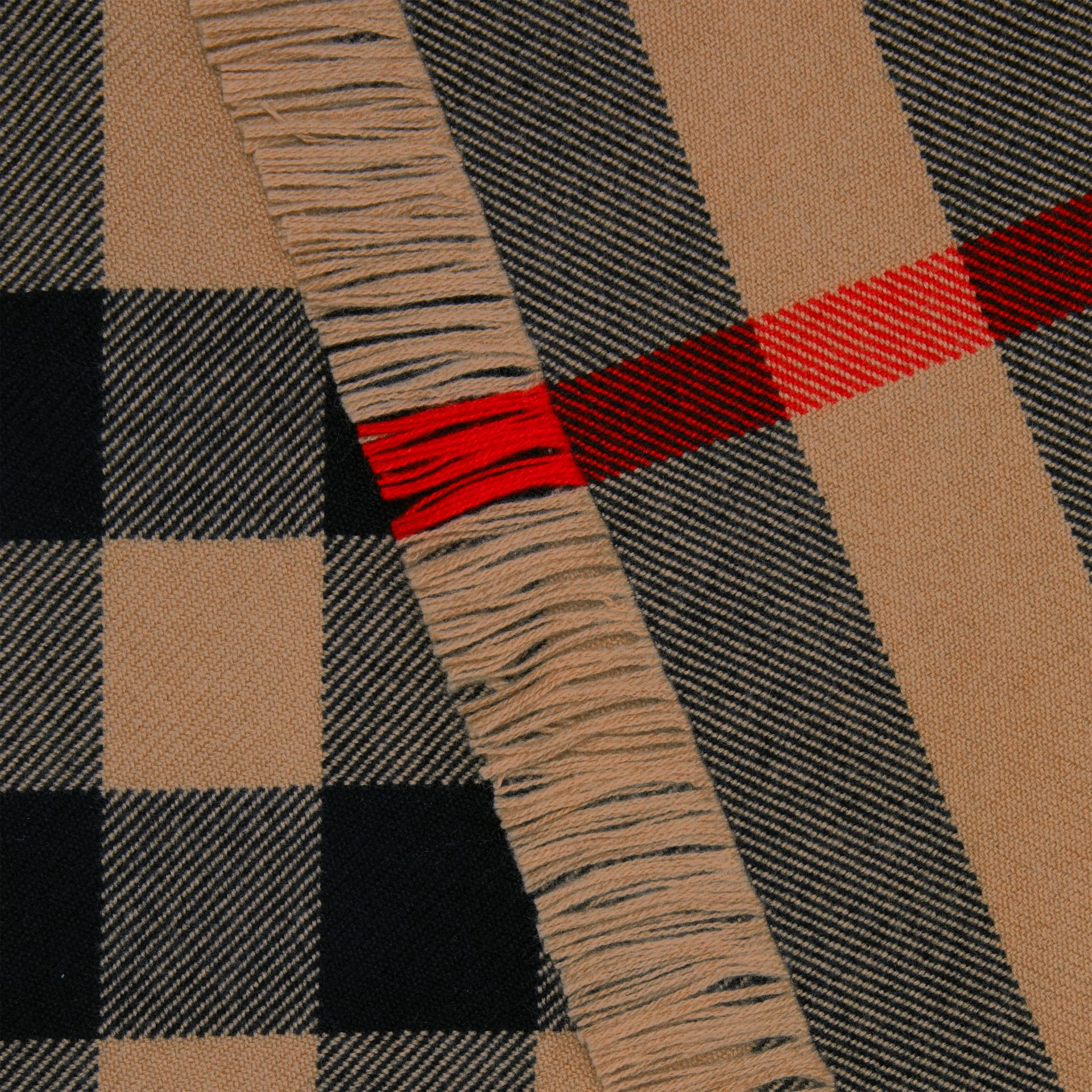 Fringed Check Wool Scarf in Camel | Burberry - gallery image 1