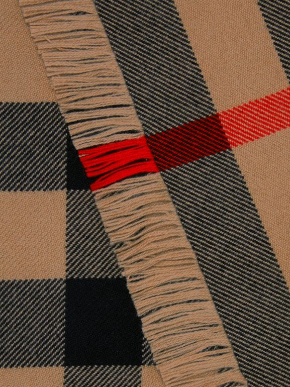 Fringed Check Wool Scarf in Camel | Burberry - cell image 1