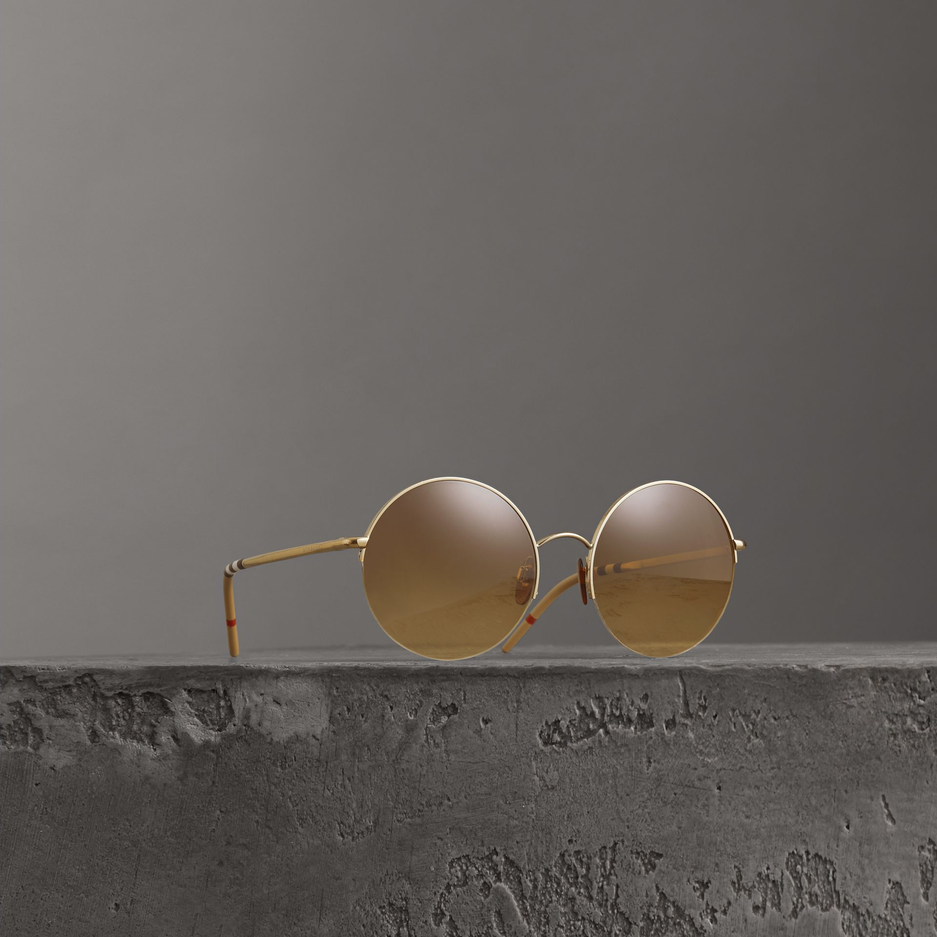 Check Detail Round Frame Sunglasses in Gold - Women | Burberry - gallery image 0