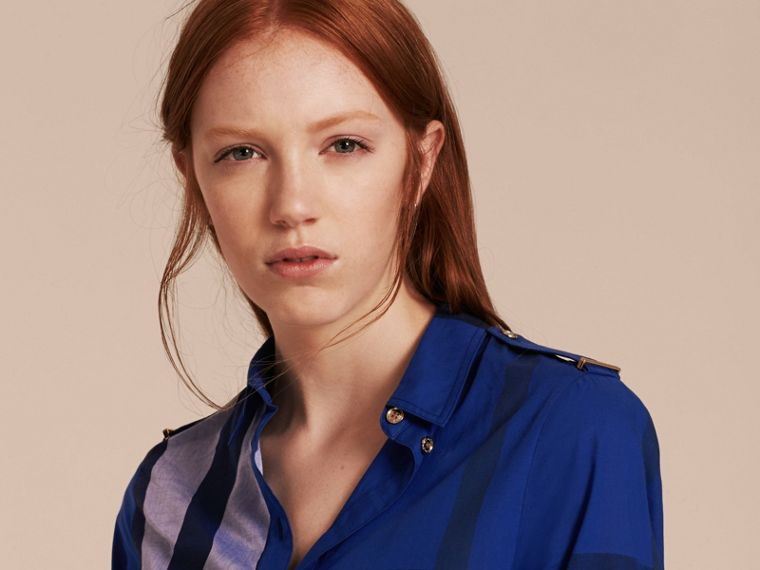 Check Cotton Shirt Dress in Brilliant Blue - cell image 4