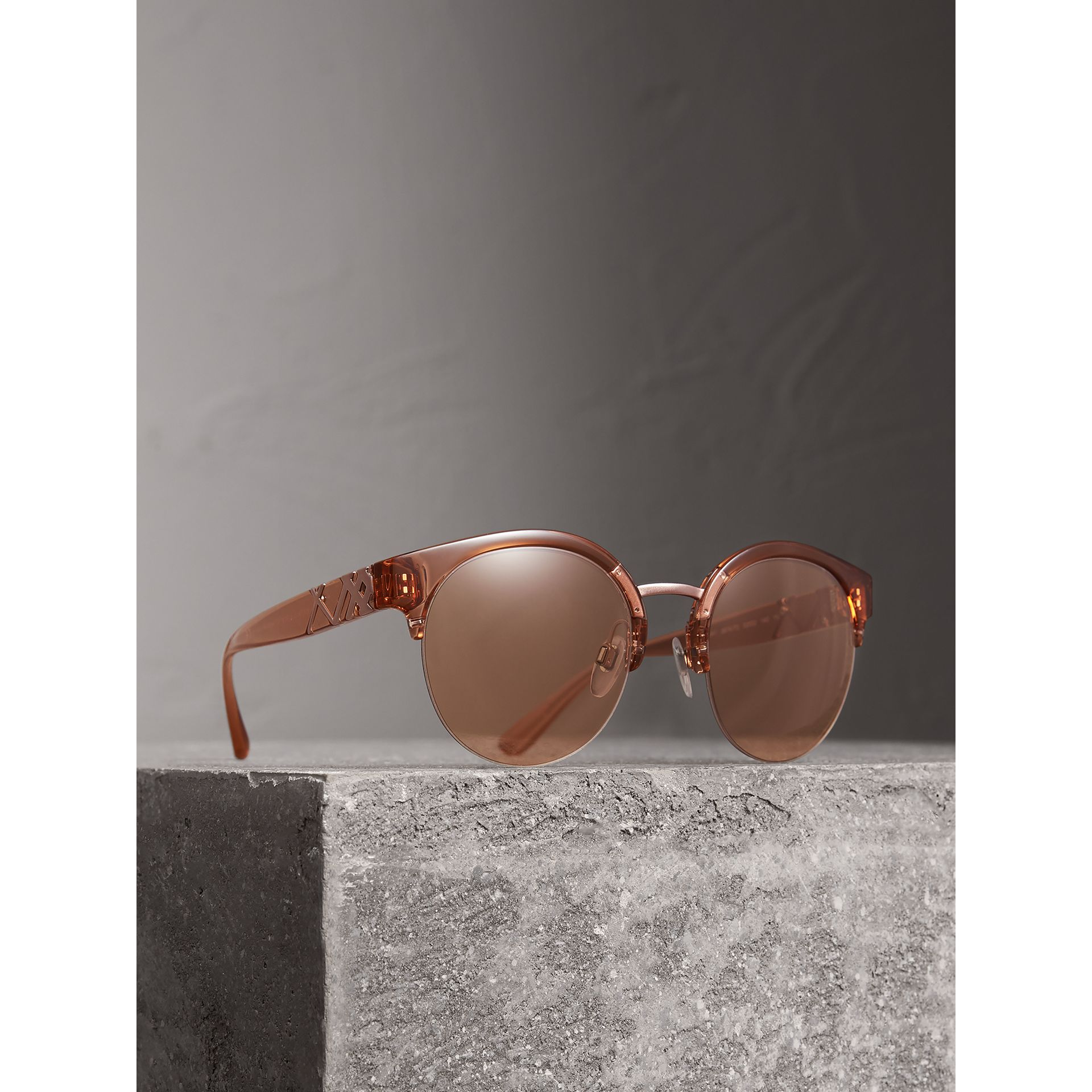 Check Detail Round Half-frame Sunglasses in Sand - Women | Burberry - gallery image 1