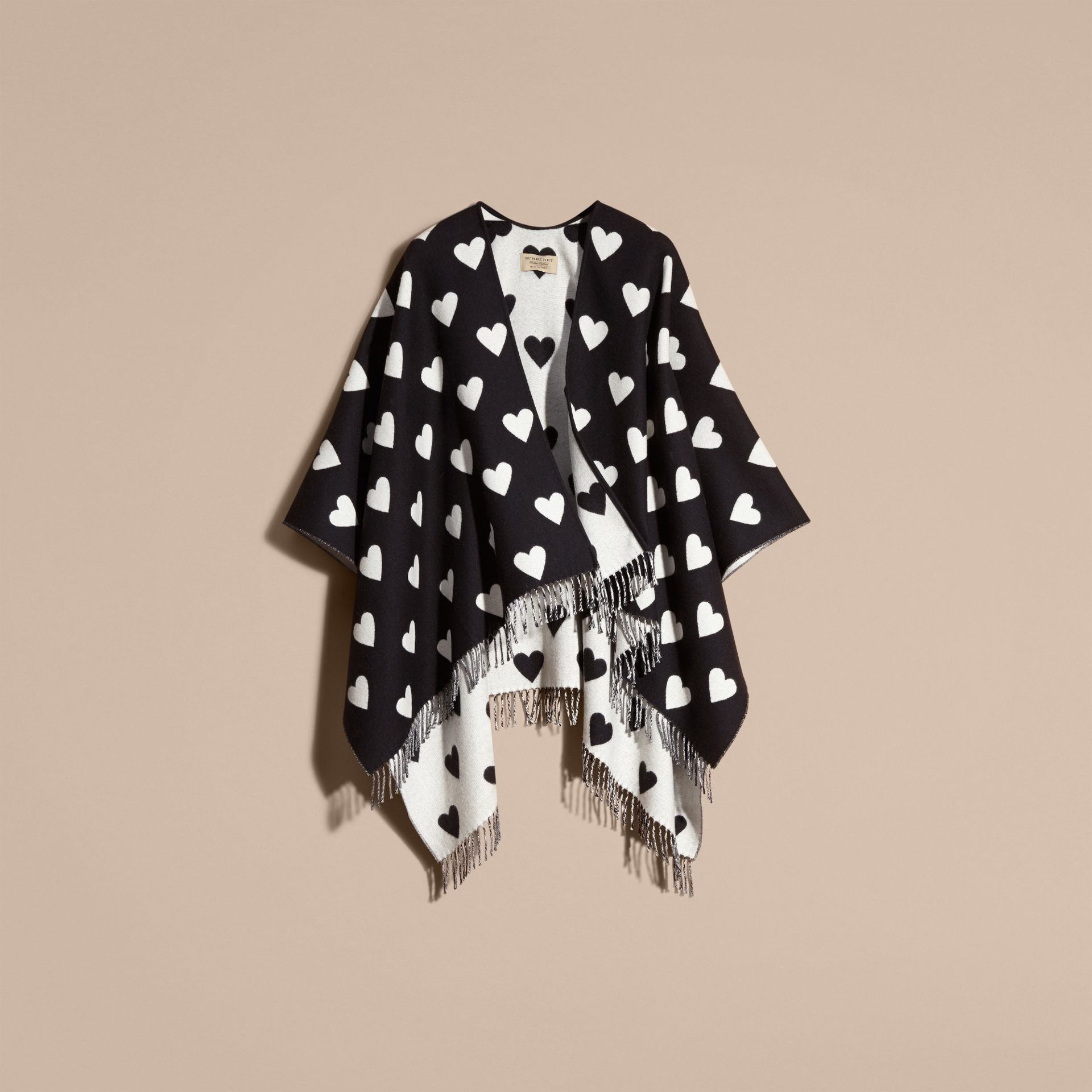 Heart Jacquard Merino Wool Poncho in Ivory/black - gallery image 4