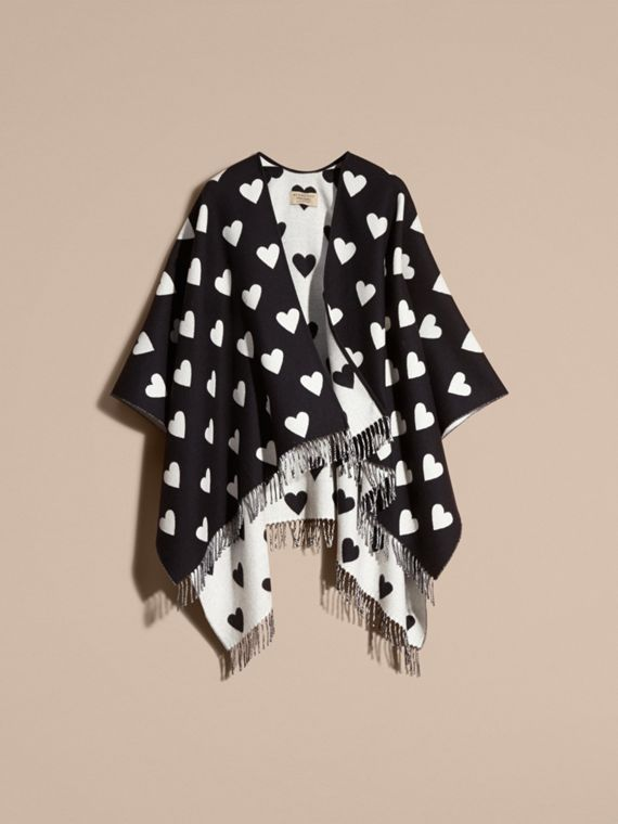 Heart Jacquard Merino Wool Poncho in Ivory/black - cell image 3