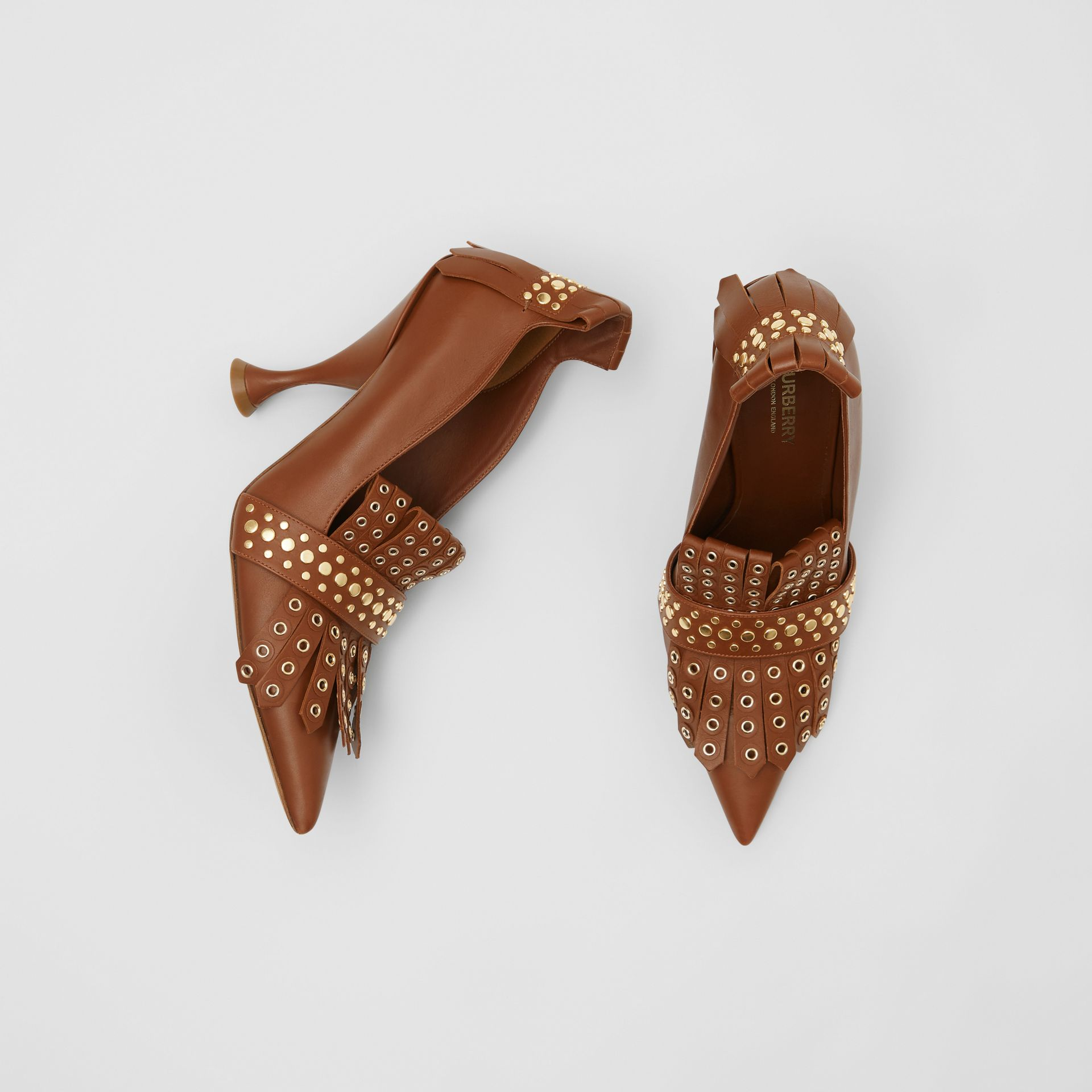 Studded Kiltie Fringe Leather Point-toe Pumps in Tan - Women | Burberry United Kingdom - gallery image 0