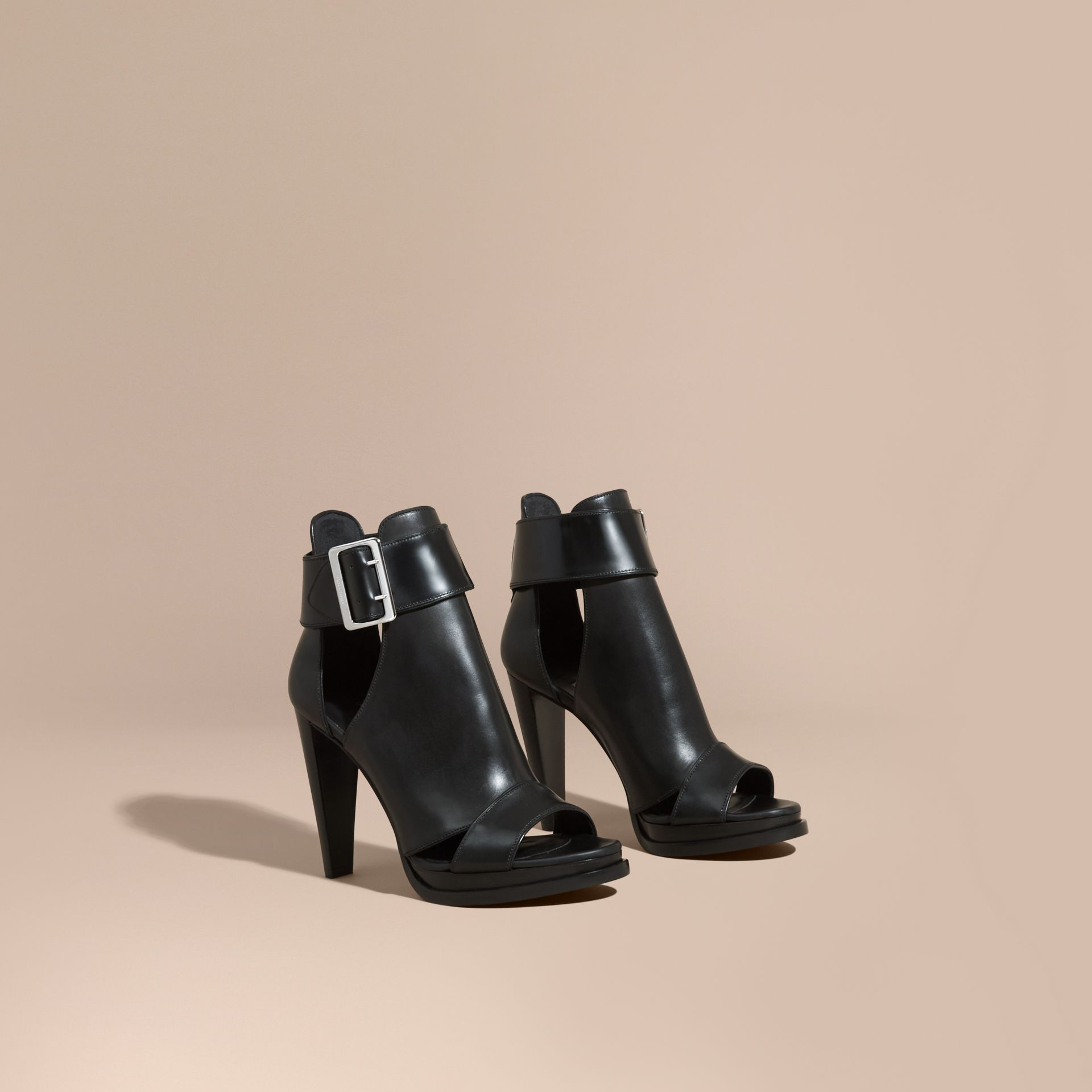 Black Buckle Detail Peep-toe Platform Ankle Boots - gallery image 1