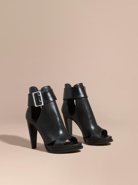 扣環裝飾魚口厚底踝靴