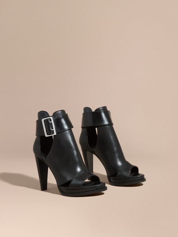 Buckle Detail Peep-toe Platform Ankle Boots