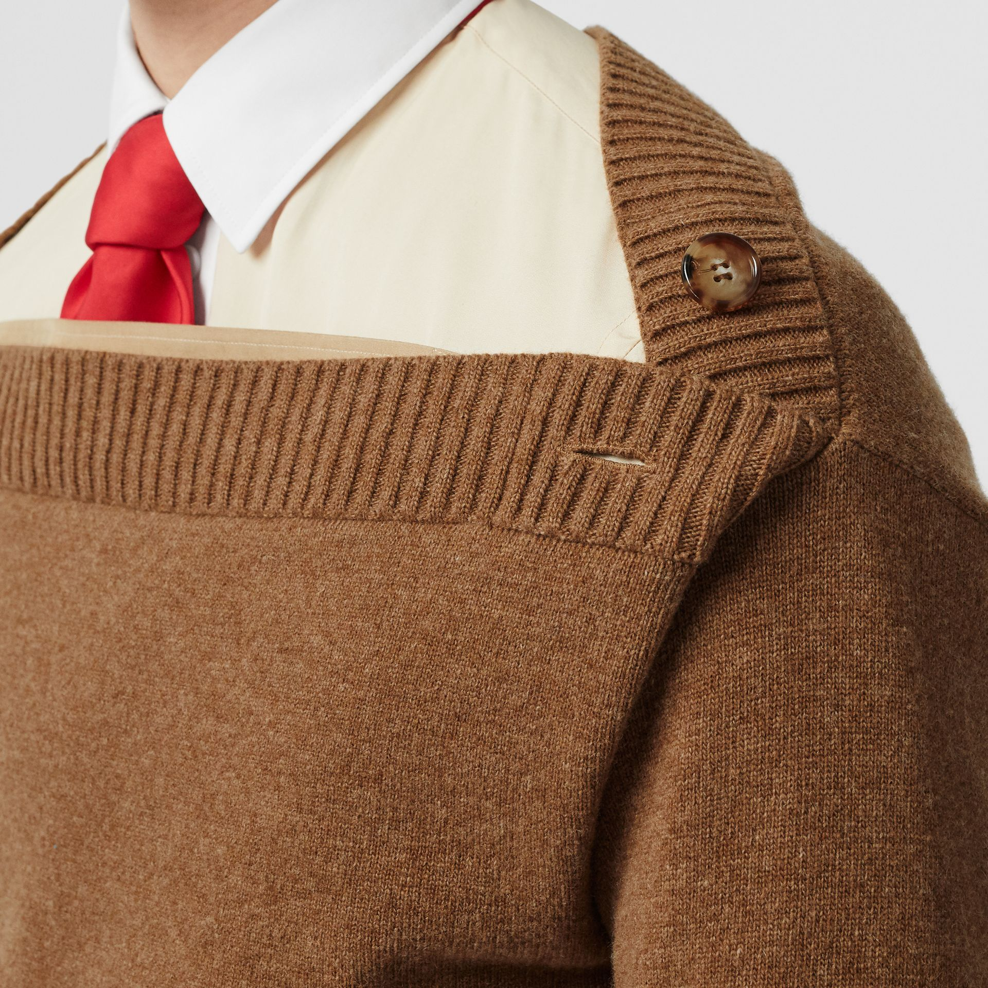 Boat Neck Wool Sweater in Dark Walnut - Men | Burberry - gallery image 5