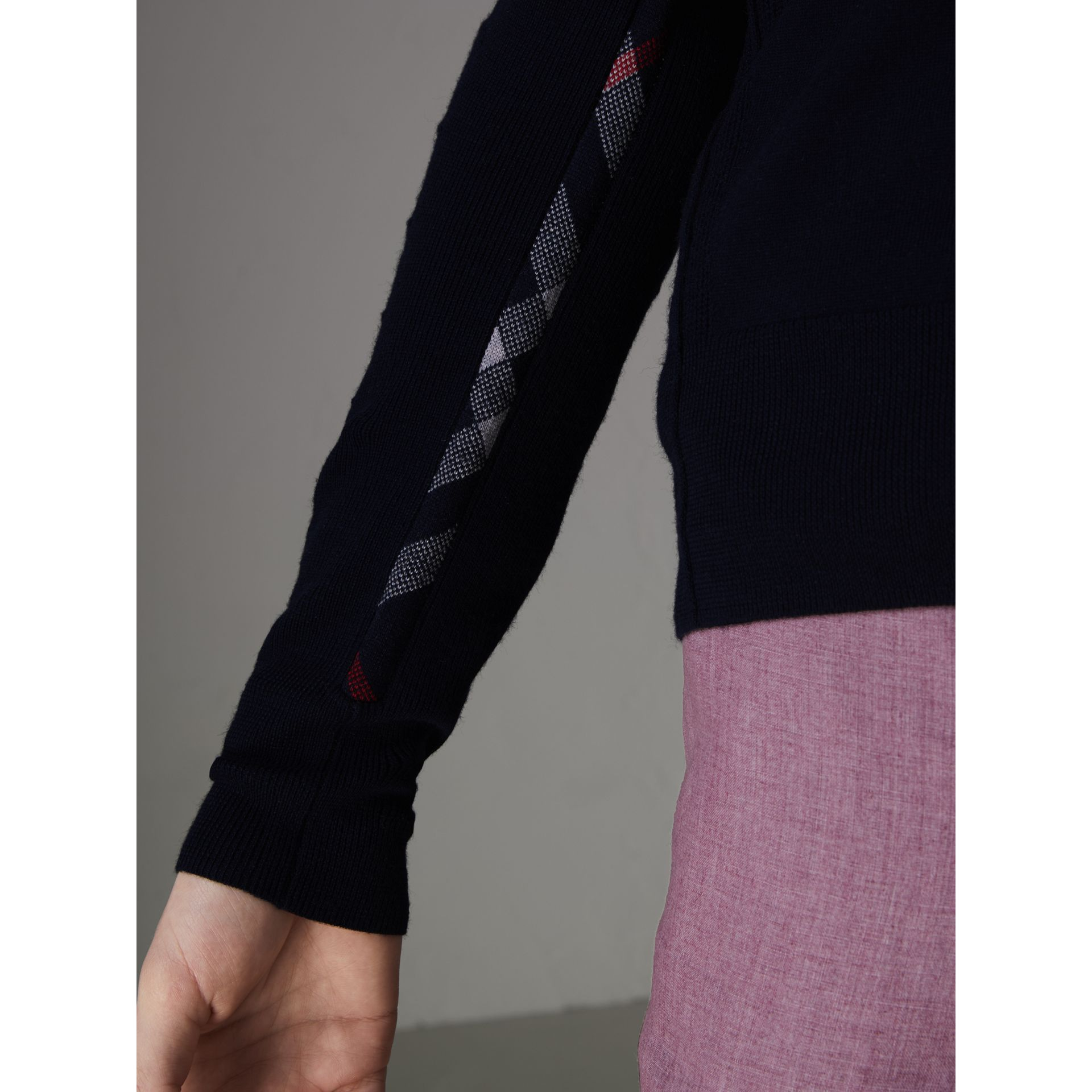 Check Detail Merino Wool Cardigan in Navy - Men | Burberry Singapore - gallery image 1