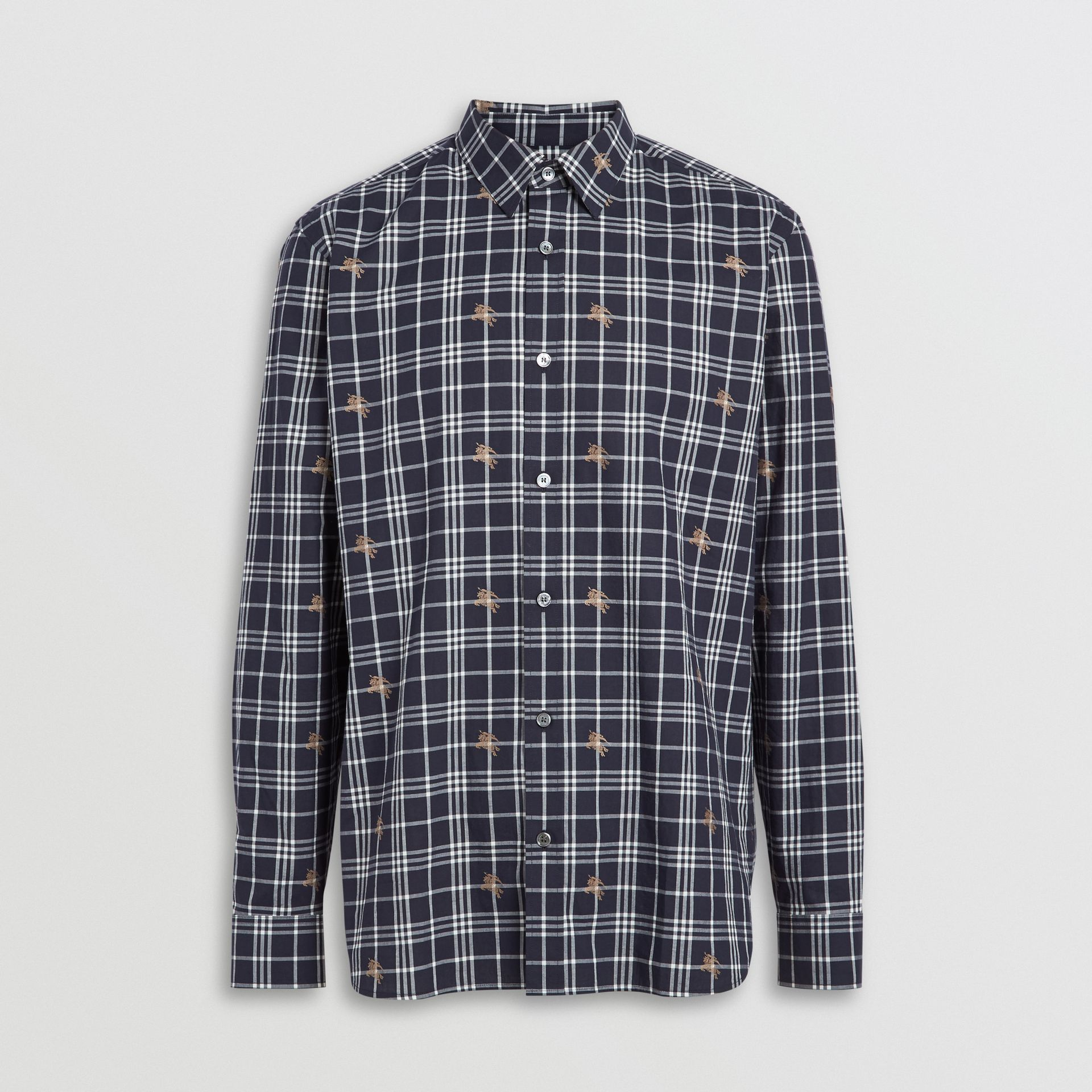 Equestrian Knight Check Cotton Shirt in Navy - Men | Burberry Australia - gallery image 3