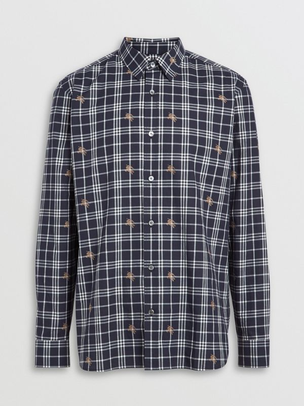 Equestrian Knight Check Cotton Shirt in Navy - Men | Burberry Australia - cell image 3