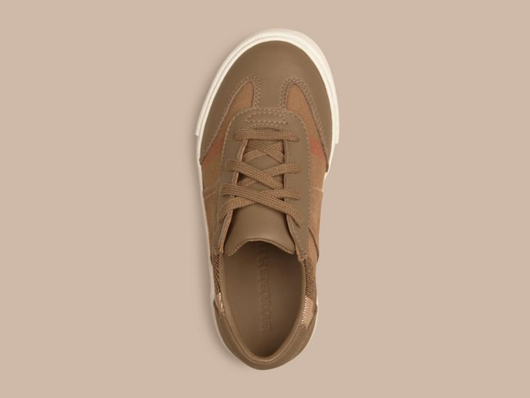 House Check and Leather Trainers in Mink Grey | Burberry - cell image 1