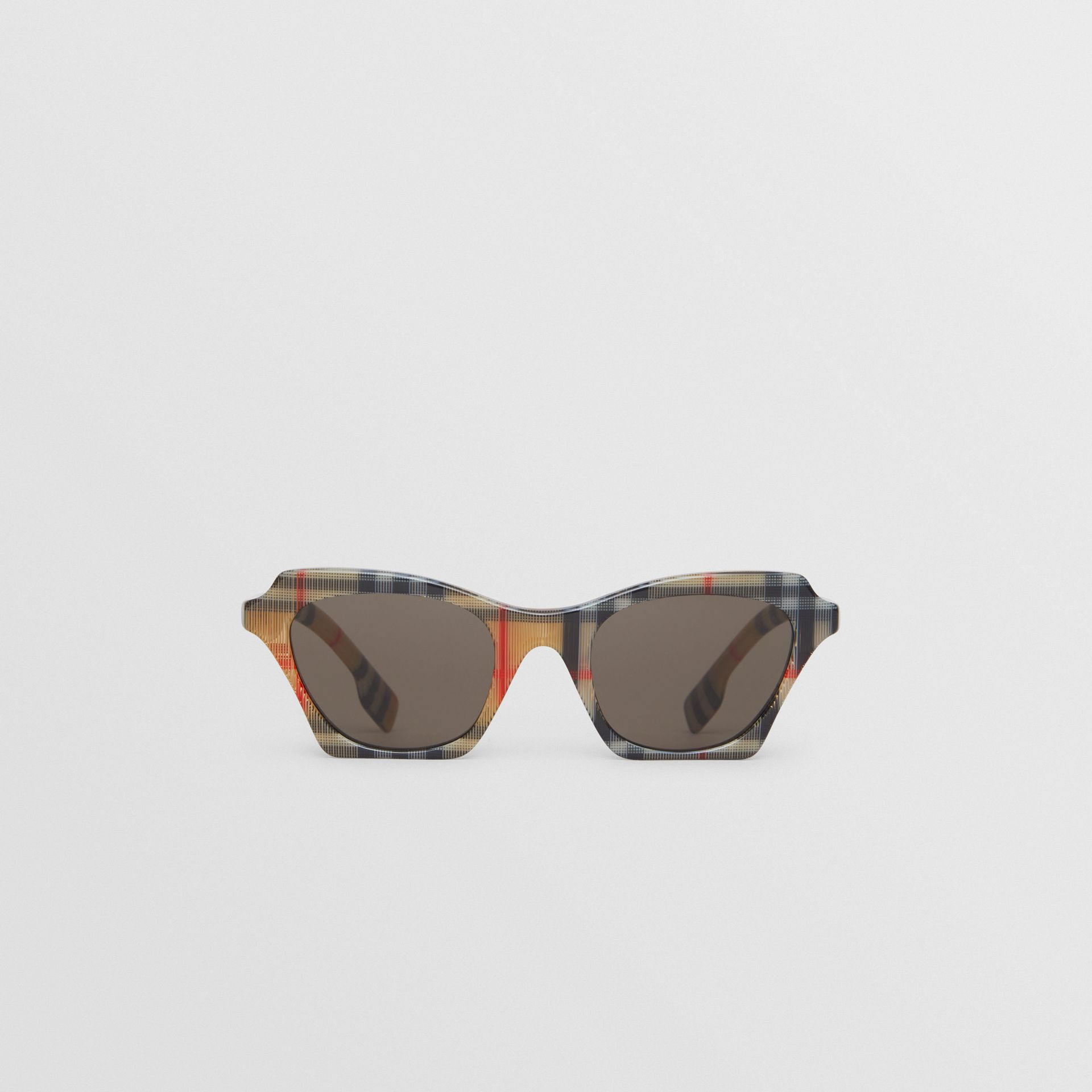 Vintage Check Butterfly Sunglasses in Antique Yellow - Women | Burberry United Kingdom - gallery image 0