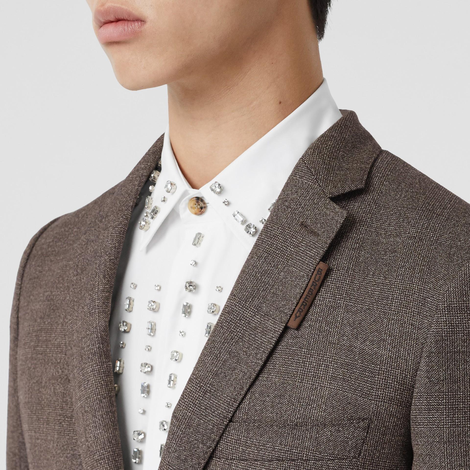 Slim Fit Wool Suit in Dark Brown - Men | Burberry - gallery image 8