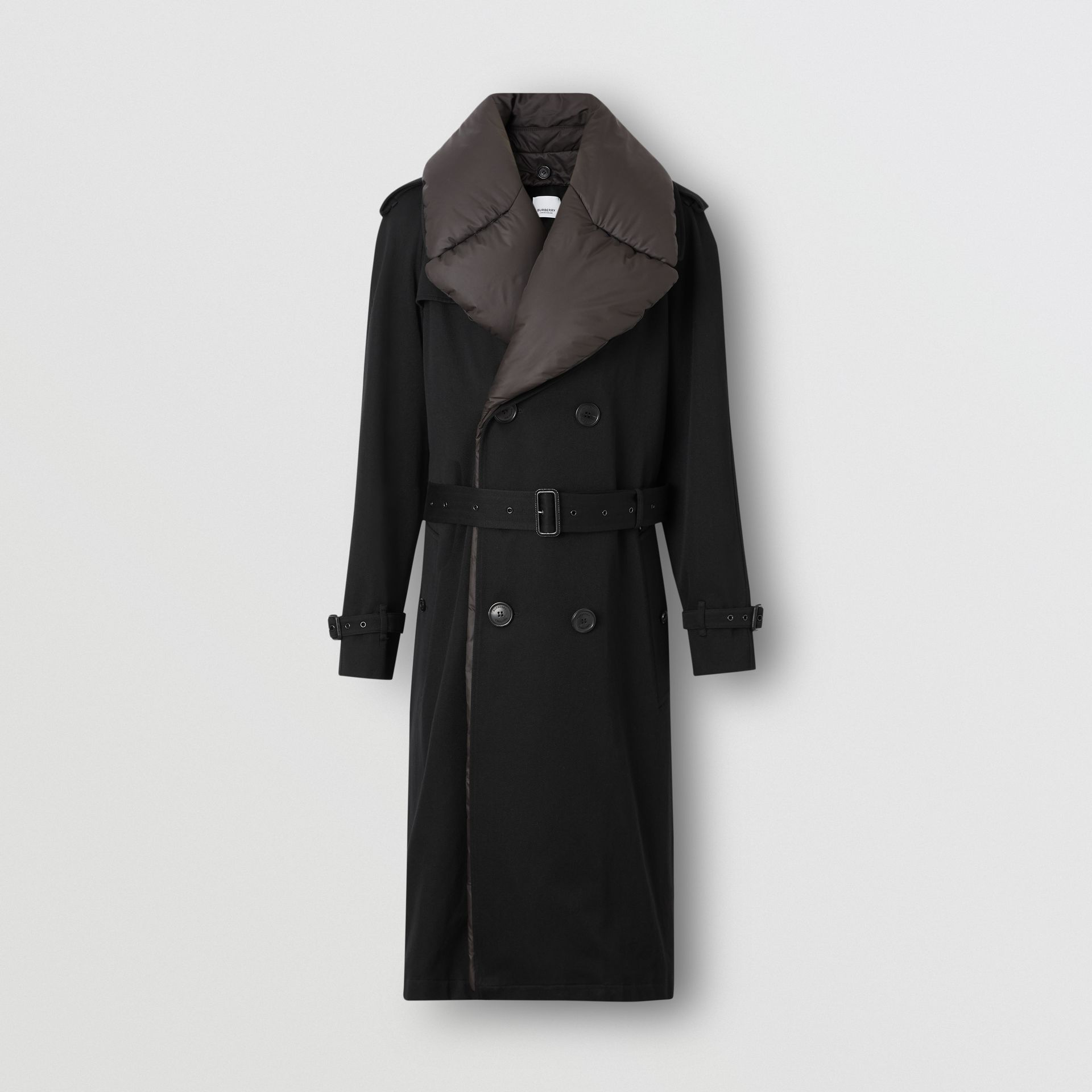 Detachable Collar Cotton Wool Trench Coat in Black - Men | Burberry Singapore - gallery image 3