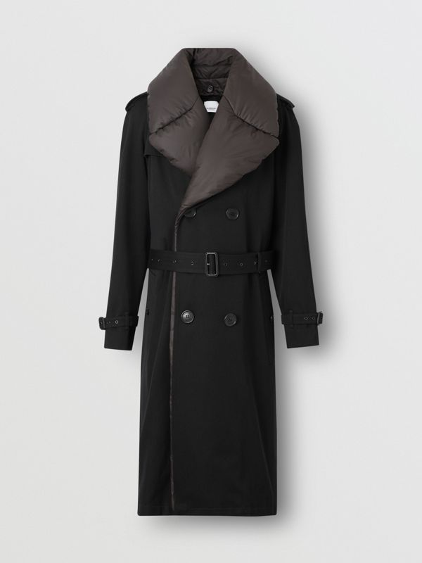 Detachable Collar Cotton Wool Trench Coat in Black - Men | Burberry Singapore - cell image 3
