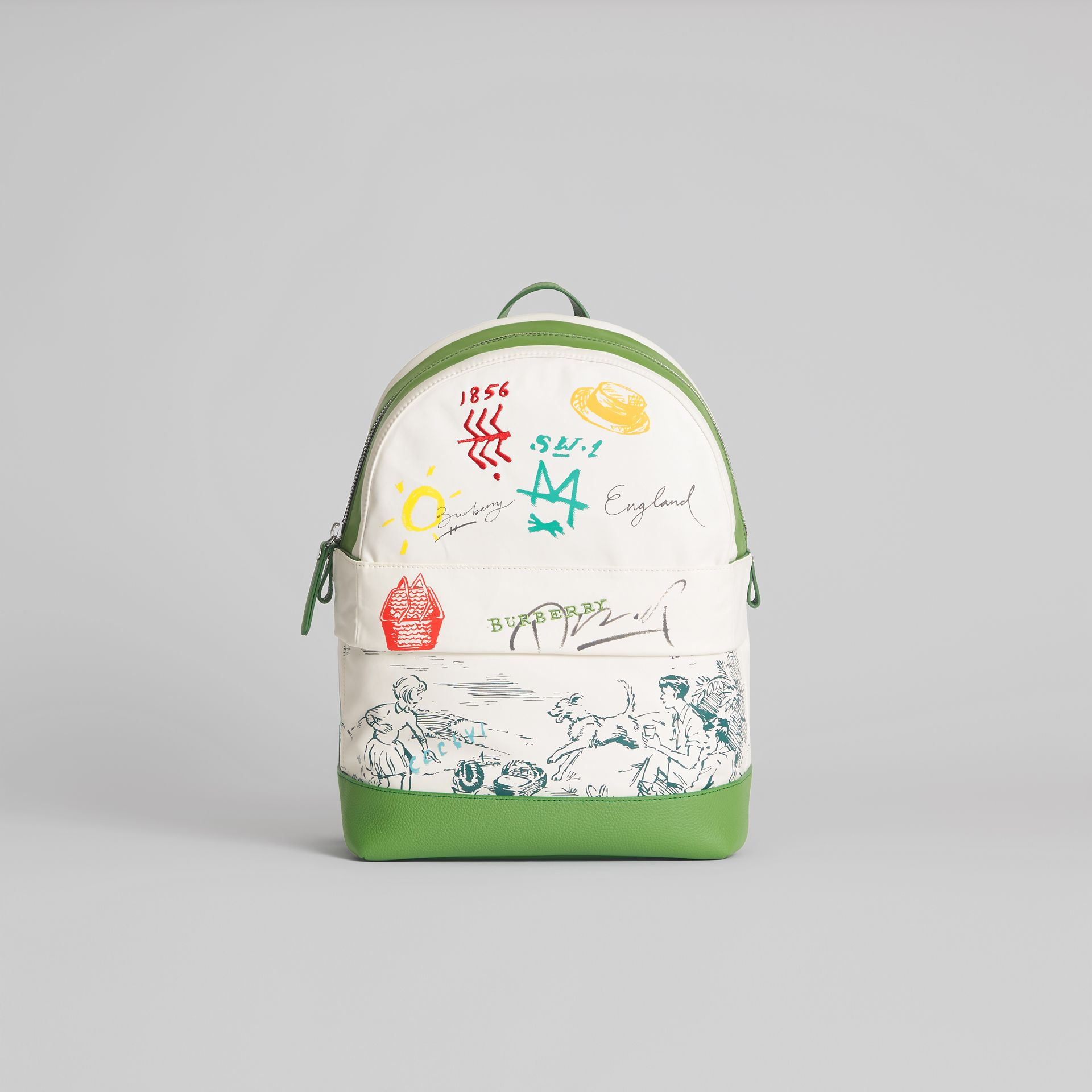 Adventure Print Cotton Canvas Backpack in Grass Green | Burberry - gallery image 0