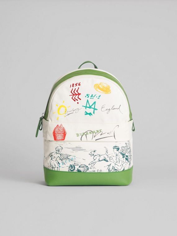 Adventure Print Cotton Canvas Backpack in Grass Green