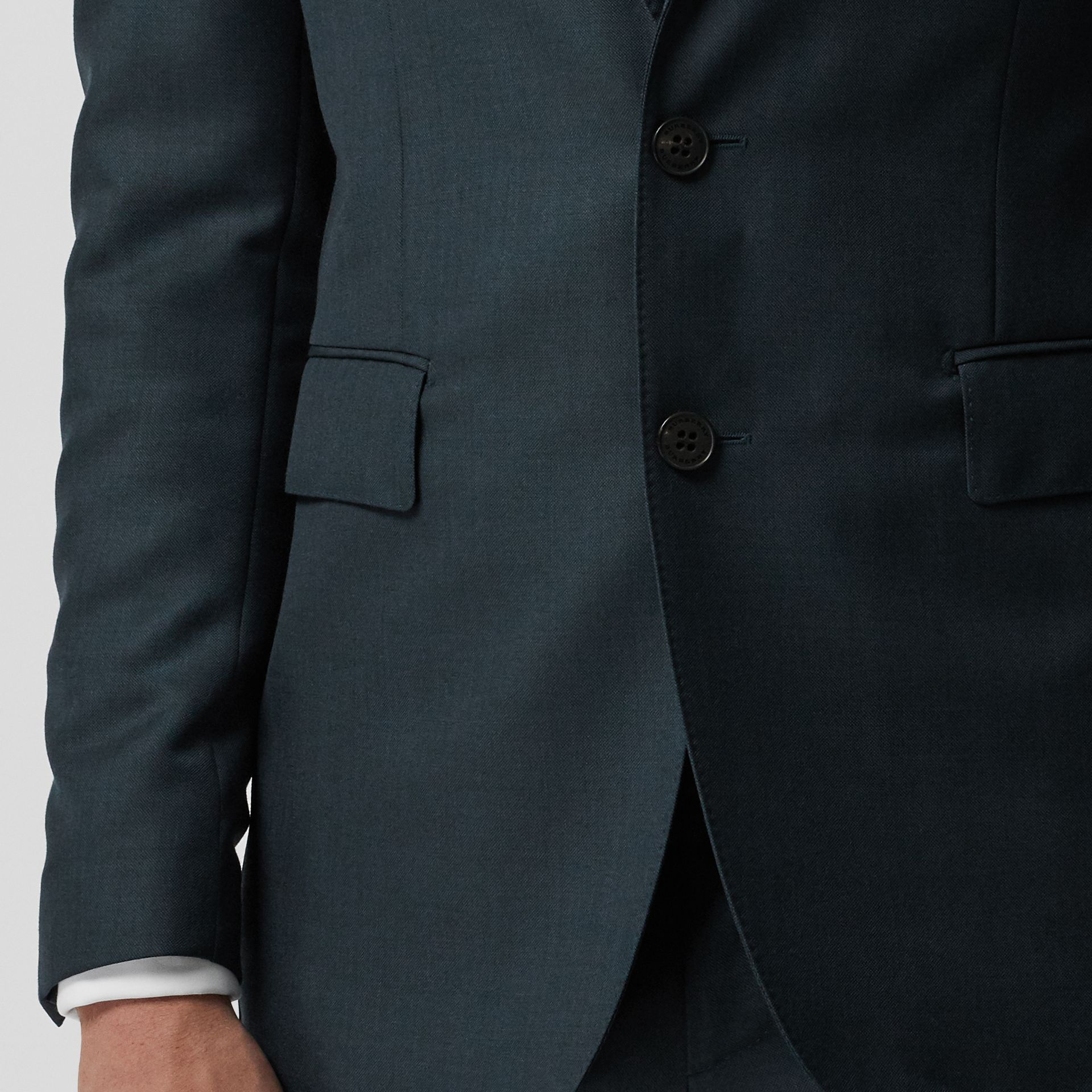 Slim Fit Wool Mohair Silk Suit in Dark Teal - Men | Burberry Canada - gallery image 4