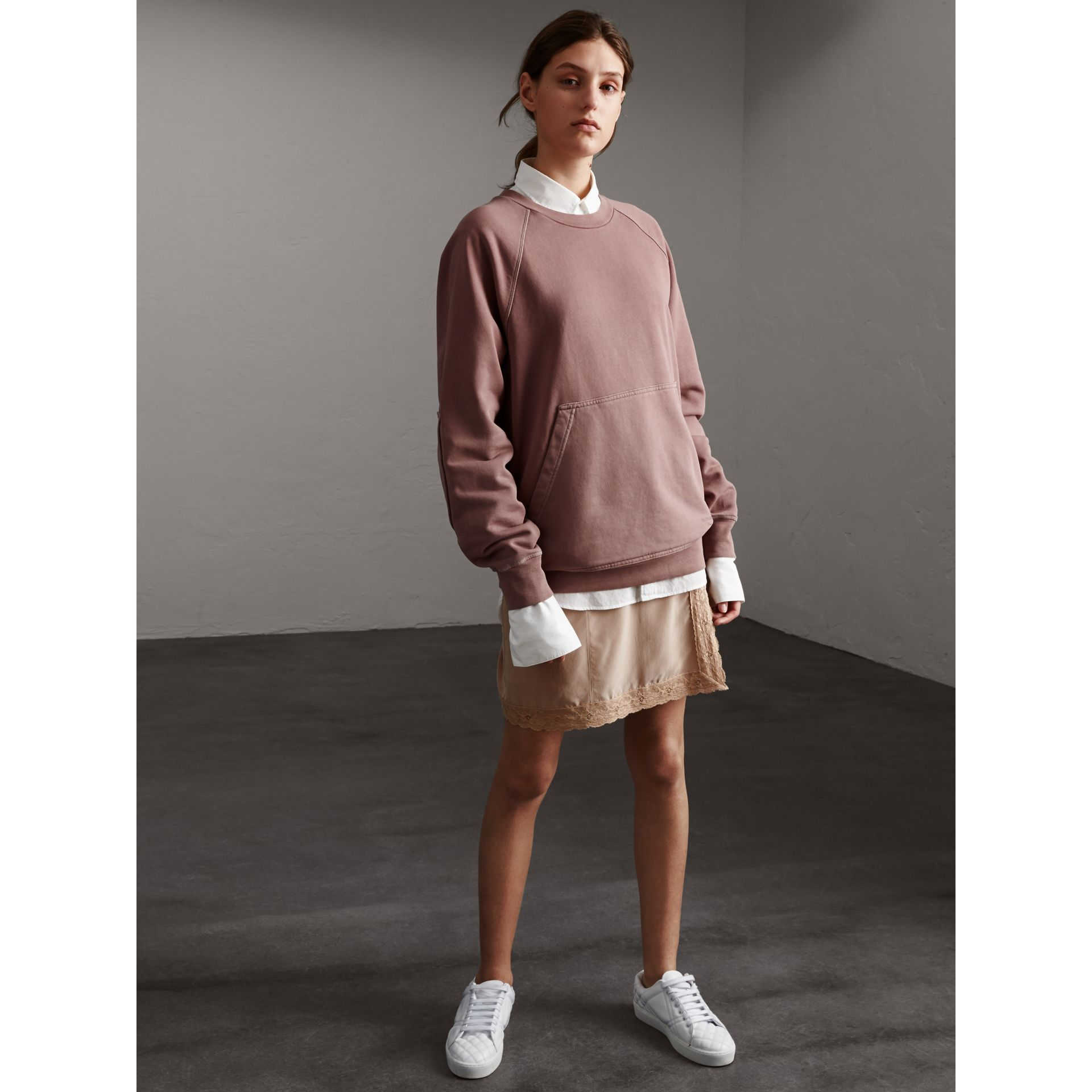 Unisex Pigment-dyed Cotton Oversize Sweatshirt in Dusty Mauve - Women | Burberry - gallery image 5
