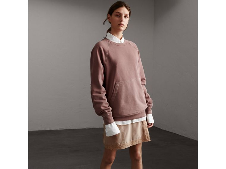 Unisex Pigment-dyed Cotton Oversize Sweatshirt in Dusty Mauve - Women | Burberry - cell image 4