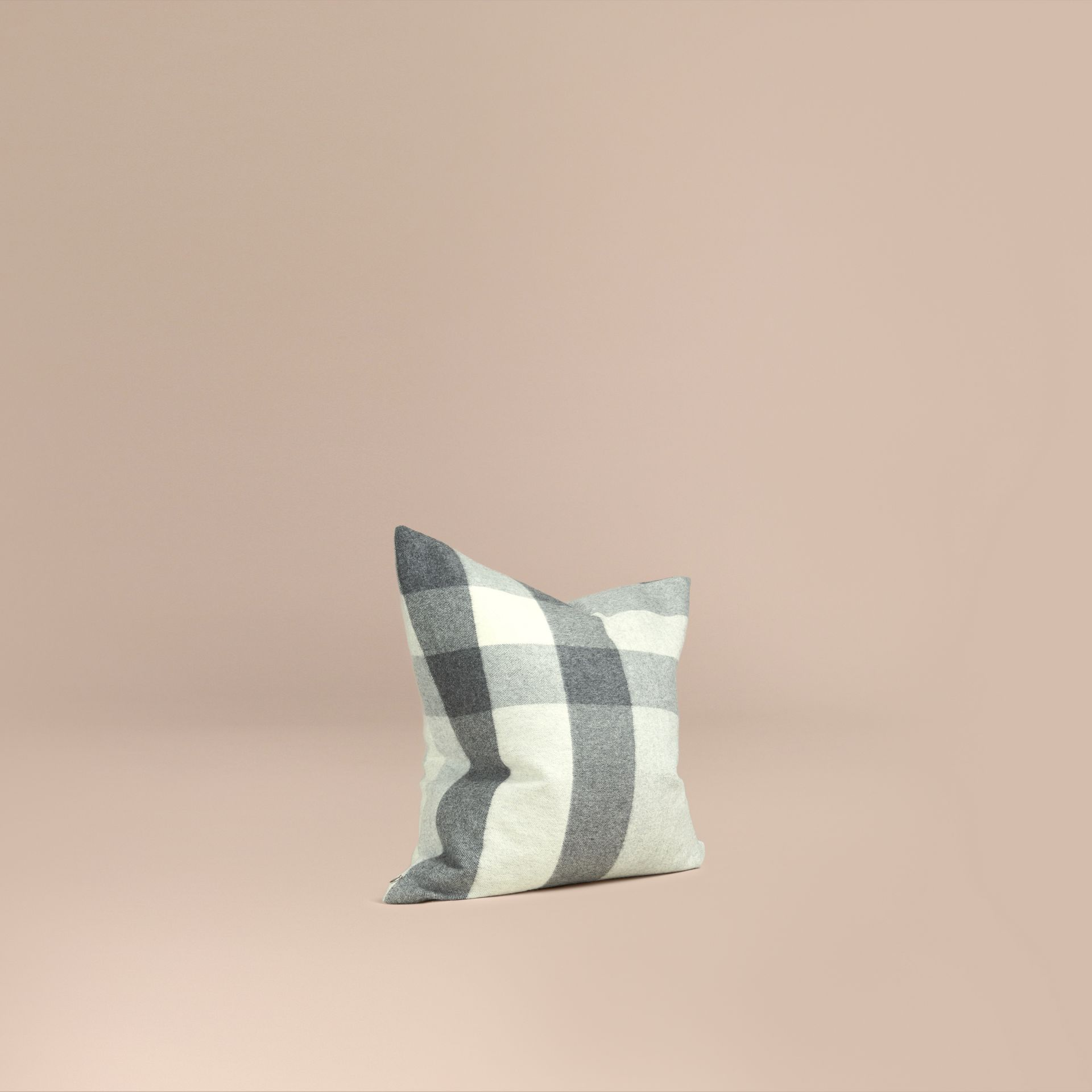 Pale grey Check Cashmere Cushion Cover Pale Grey - gallery image 1
