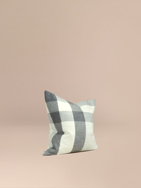 Check Cashmere Cushion Cover Pale Grey