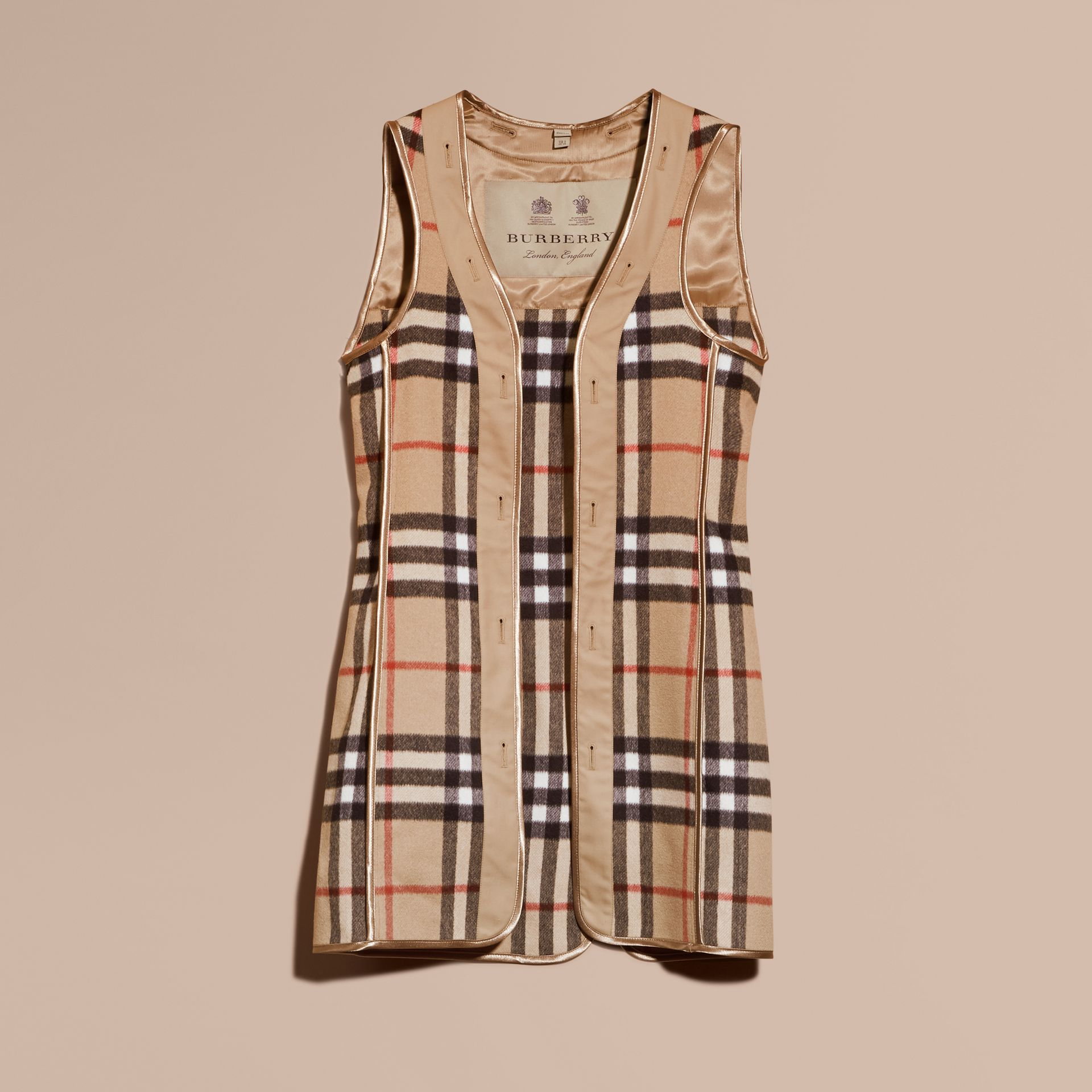 Sandringham Fit House Check Cashmere Wool Warmer in Camel - Men | Burberry - gallery image 0