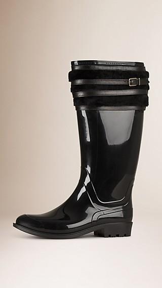 Shearling Trim Rain Boots