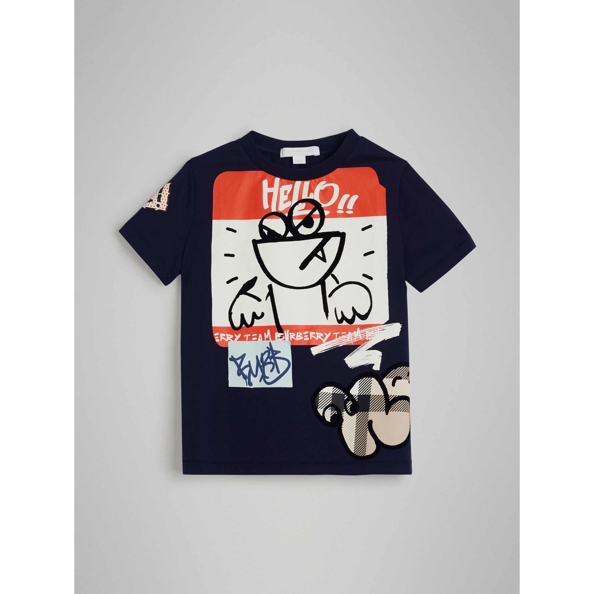 Graffiti Ticket Print Cotton T-shirt in Navy | Burberry - gallery image 0
