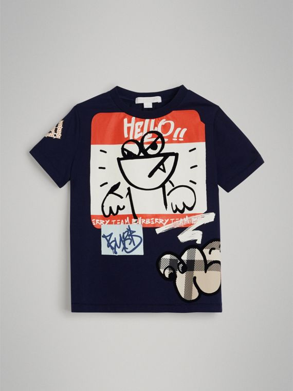 Graffiti Ticket Print Cotton T-shirt in Navy