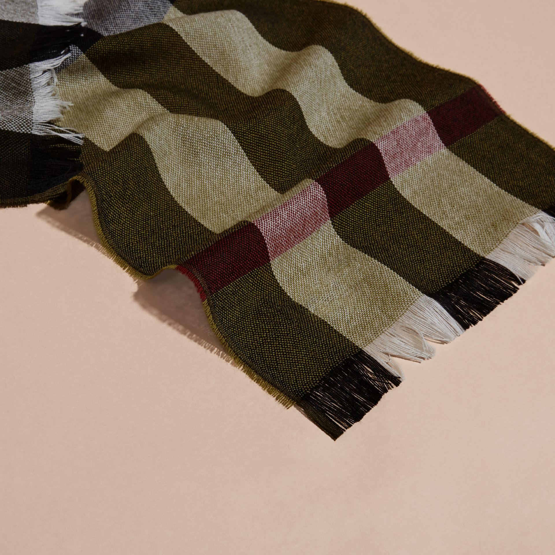 Olive Check Merino Wool Scarf - gallery image 2
