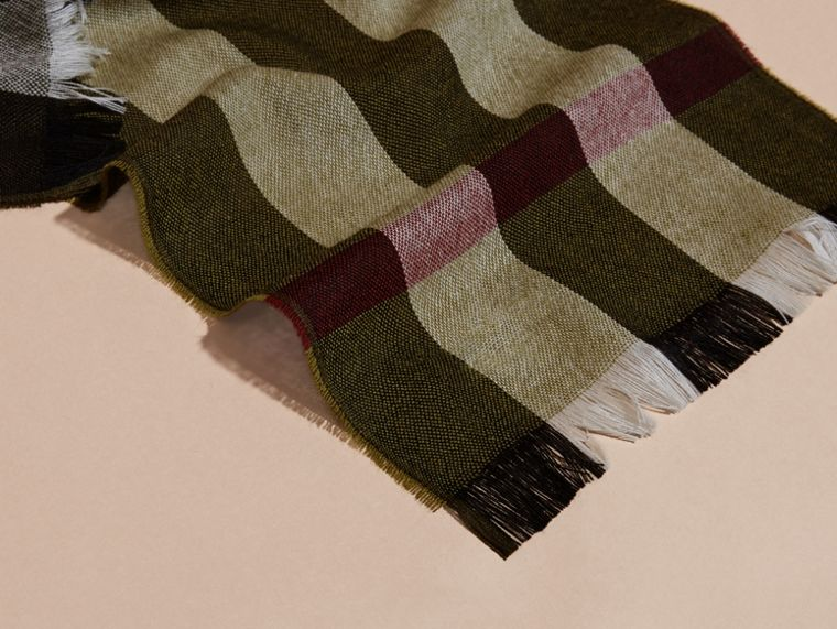 Olive Check Merino Wool Scarf - cell image 1